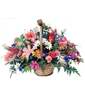 Country Charm Basket of Mixed Flowers