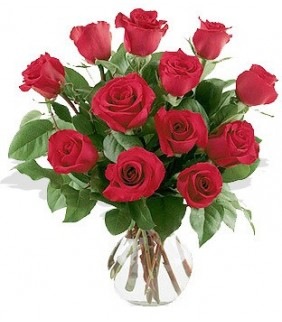 One Dozen Roses Arranged in Vase