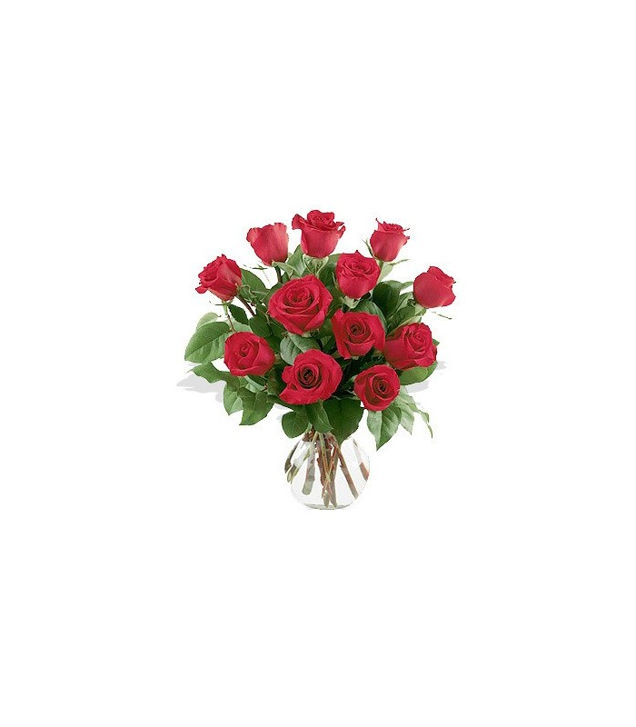 one dozen roses arranged in vase uganda flowers and gifts