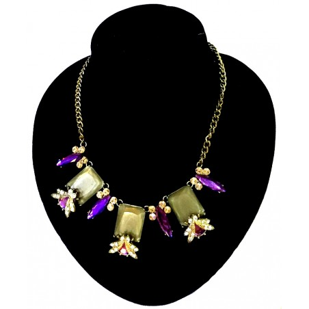 Purple Shine Flower Necklace Gift  HH Label