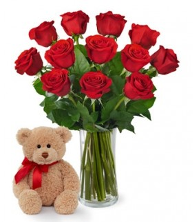 JNS Red Rose Bouquet with Bear Love