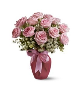 A Dozen Pink Roses and Lace